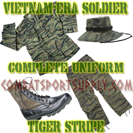 Vietnam Jungle Combat Uniform Slant Pocket COMPLETE SET Tiger Stripe airsoft
