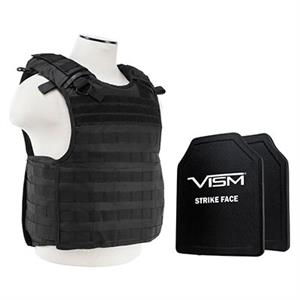 VISM QR Plate Carrier Vest w/ Ballistic Soft Armor Panels Level IIIA 11X14 Black