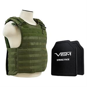 VISM QR Plate Carrier Vest w/ Ballistic PE Hard Plates Level III plus 10X12 OD Green