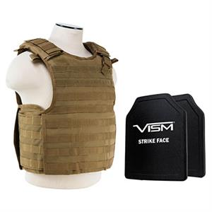 VISM QR Plate Carrier Vest w/ Ballistic PE Hard Plates Level III plus 10X12 Tan
