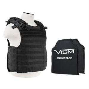 VISM QR Plate Carrier Vest w/ Ballistic Soft Armor Panels Level IIIA 10X12 Black