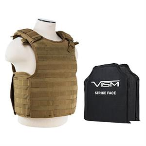 VISM QR Plate Carrier Vest w/ Ballistic Soft Armor Panels Level IIIA 10X12 Tan