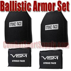 "VISM Ballistic Ceramic / PE Armor Set 10""X12"" Plus 6""x8"" Side Armor"