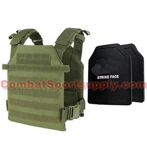 Condor Outdoor Sentry Plate Carrier Vest w 2 10x12 PE Level III+ Ballistic Hard Plates