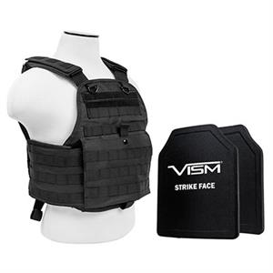 VISM Plate Carrier Vest w/ Ballistic PE Hard Plates Level III Plus 10X12 Assorted Colors