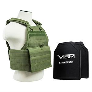 VISM Plate Carrier Vest w/ Ballistic PE Hard Plates Level III Plus 10X12 OD Green BPCVPCV2924G-A