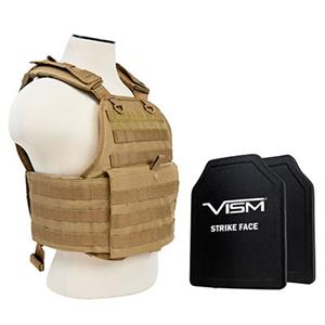 VISM Plate Carrier Vest w/ Ballistic PE Hard Plates Level III Plus 10X12 TAN BPCVPCV2924T