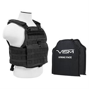 VISM Plate Carrier Vest w/ Ballistic Soft Armor Panels Level IIIA 10X12 Black BSCVPCV2924B