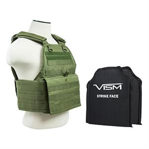 VISM Plate Carrier Vest w/ Ballistic Soft Armor Panels Level IIIA 10X12 OD Green