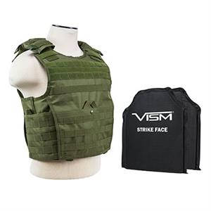 VISM Expert Plate Carrier Vest w/ Ballistic Soft Armor Panels Level IIIA 10X12 OD Green