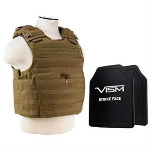 VISM Expert Plate Carrier Vest w/ Ballistic Soft Armor Panels Level IIIA 11X14 Tan
