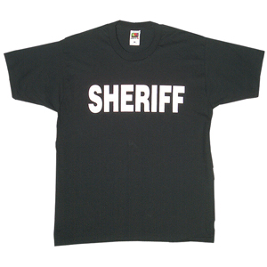 Sheriff T-Shirt Double Sided Black