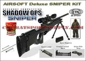 UTG Shadow Ops Airsoft Sniper Rifle DELUXE SNIPERS KIT