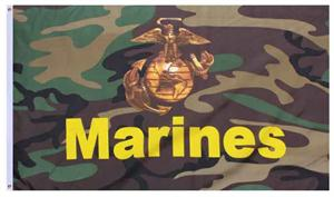 Woodland Camo Marines Flag