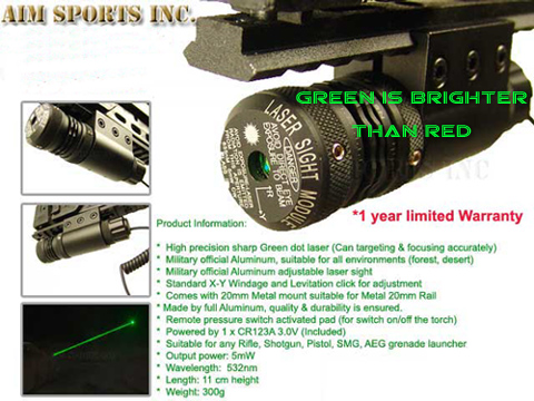 Aim Sports Tactical Green Laser with Pressure Switch
