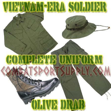 Vietnam Era Jungle Combat Uniform Slant Pocket COMPLETE SET -OD airsoft