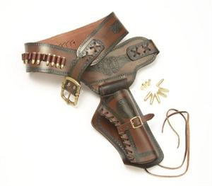 Old West Leather Single Holster and Belt With Replica Bullets