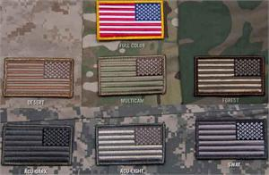 US Flag Reversed Velcro Patch Camo Colors